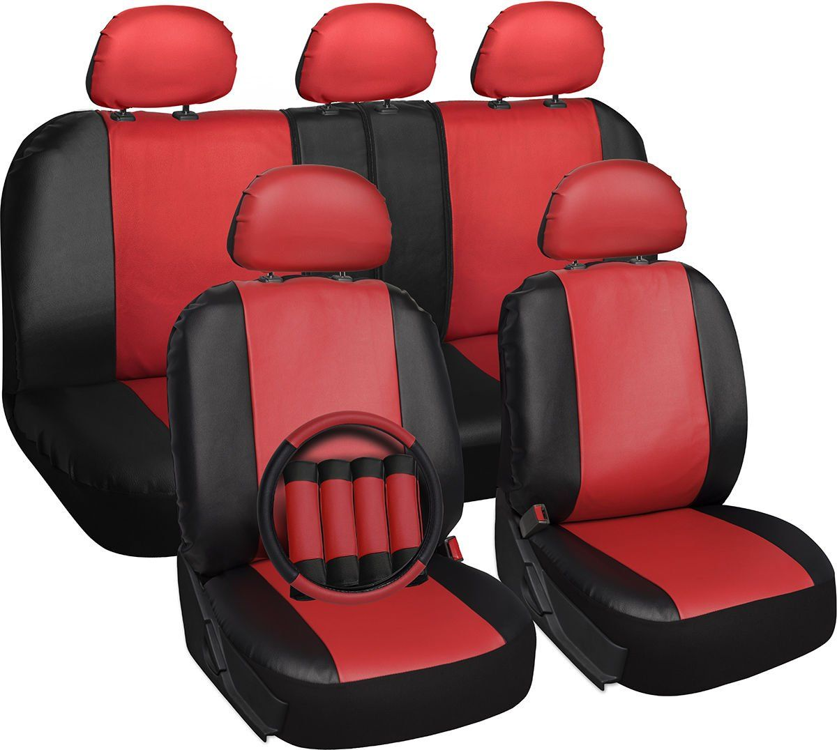 Faux Leather Car Seat Cover For Kia Soul Red With Steering Wheel Belt Pad Head R