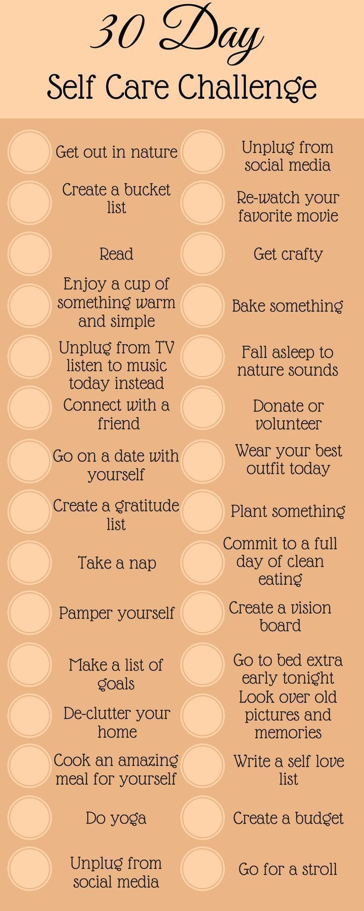 Selfcare challenge to bring you happiness and love Take control and change the way you view yourself by taking this 30day selfcare challenge