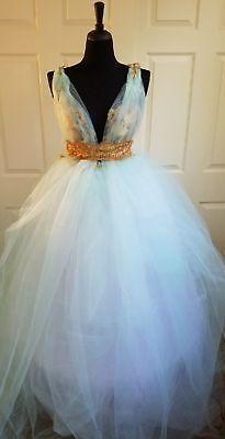 Mint Green & Gold Lace Tulle Garden Fairy Babydoll Wedding Bridal ...