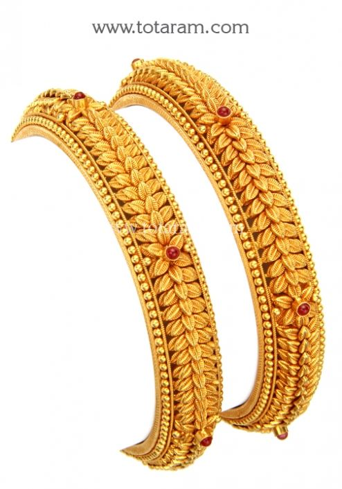 22k gold bangles set of 2 1 pair temple jewellery 89478