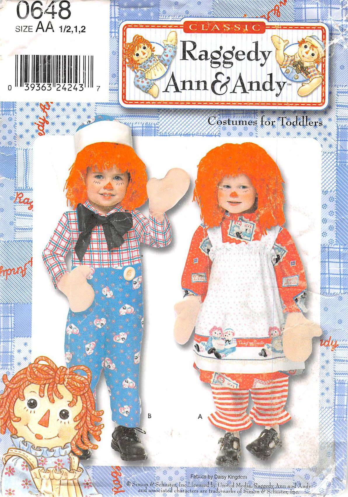 SIMPLICITY 0648 - FROM 2000 - UNCUT - TODDLERS & CHILDS RAGGEDY ANN & ANDY COSTUME