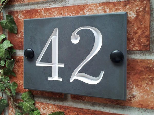 fd8ae0cfd625 Slate House Signs with deep engraved House Numbers & House Names ...