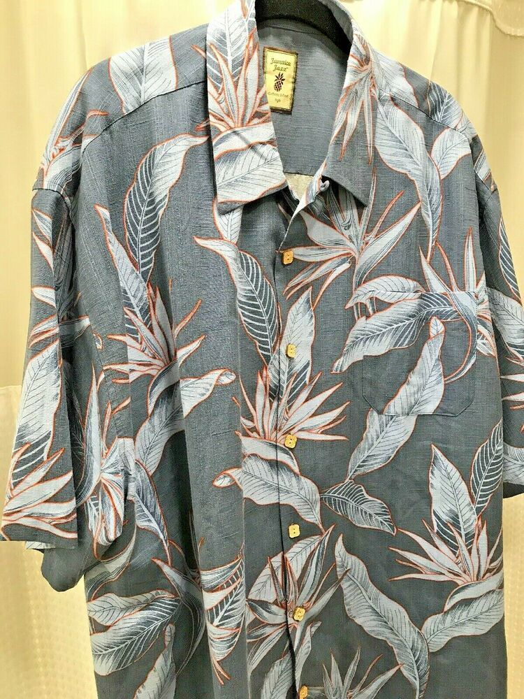 6c9b56a0 Jamaica Jaxx Birds of Paradise Mens XXL Hawaiian Shirt Washable Silk Blue  Vents #JamaicaJaxx #Hawaiian