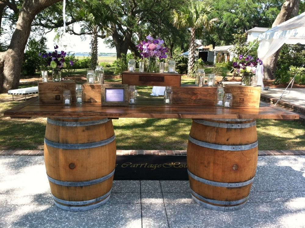 Wine Barrel Bar with a Door as
