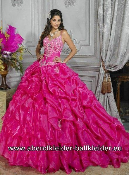 Pinkes Spaghetti Träger Abendkleid Ballkleid Brautkleid mit Schleppe ...
