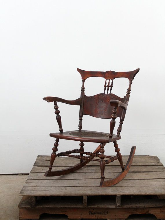 Antique Rocking Chair With Tooled Leather Seat For The