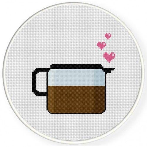 Coffee Lover Cross Stitch Illustration