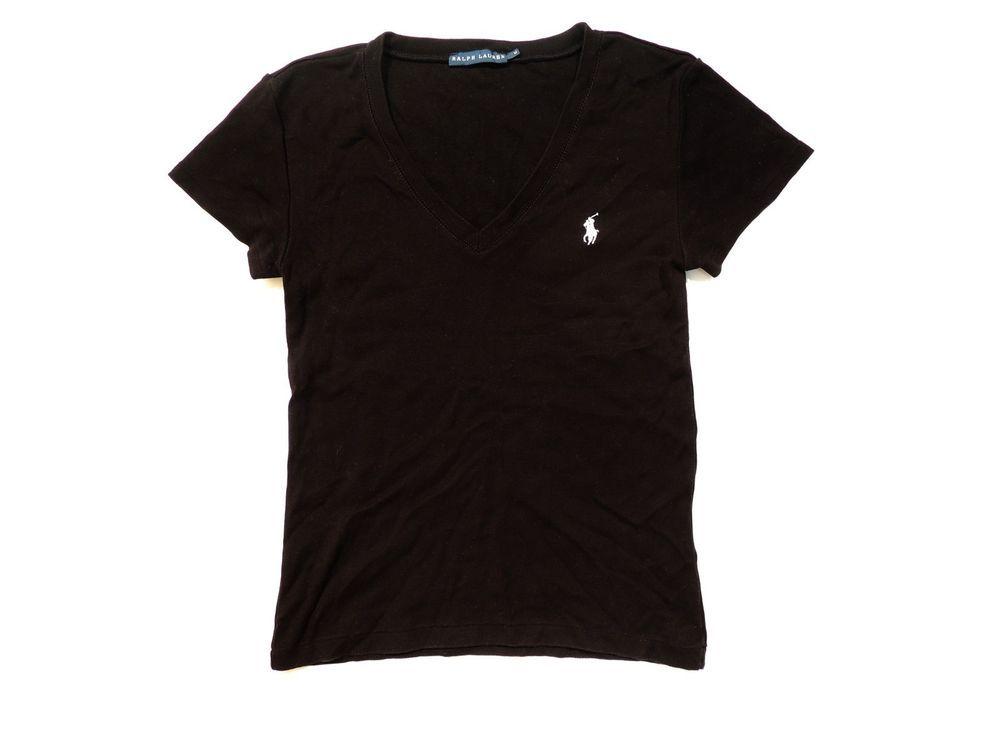 62e56eb4e5eec Ladies RALPH LAUREN size M Black V Neck Cotton Short Sleeve Blouse Top T- Shirt in Clothes
