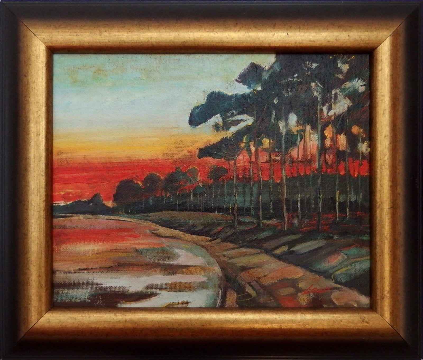 Ladislav Majoroši - V zátoke, olejomaľba na sololite, 30 x 37 cm, 2005