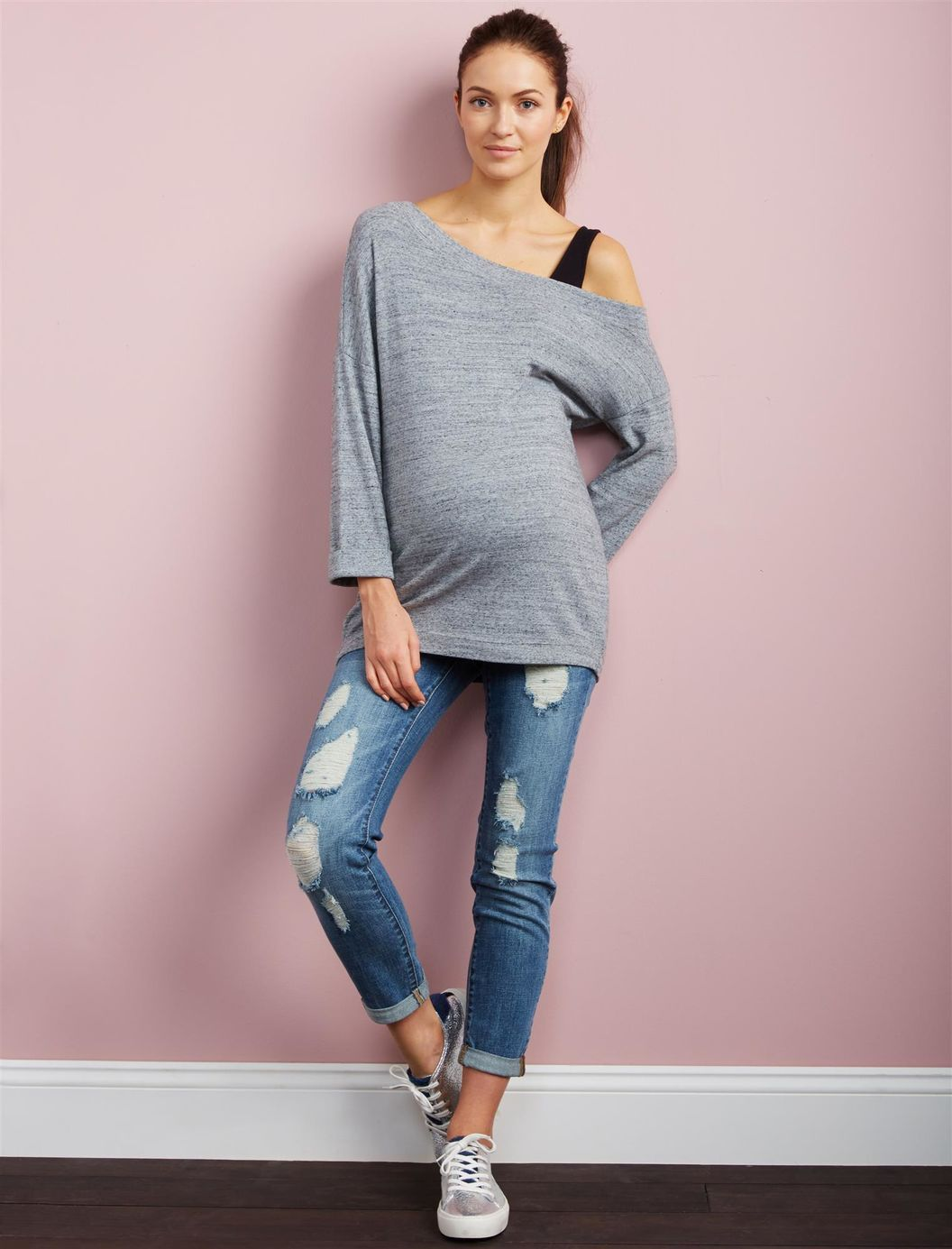 d4eae002c381f Luxe Essentials Denim Secret Fit Belly Destructed Boyfriend Maternity Jeans  | A Pea in the Pod Maternity