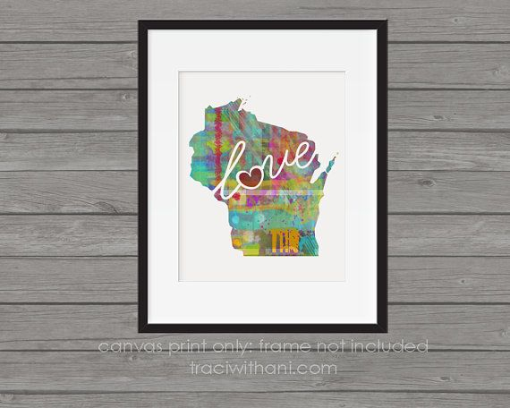 Wisconsin WI Canvas Paper Print: A Modern by TraciWithaniDesigns ...
