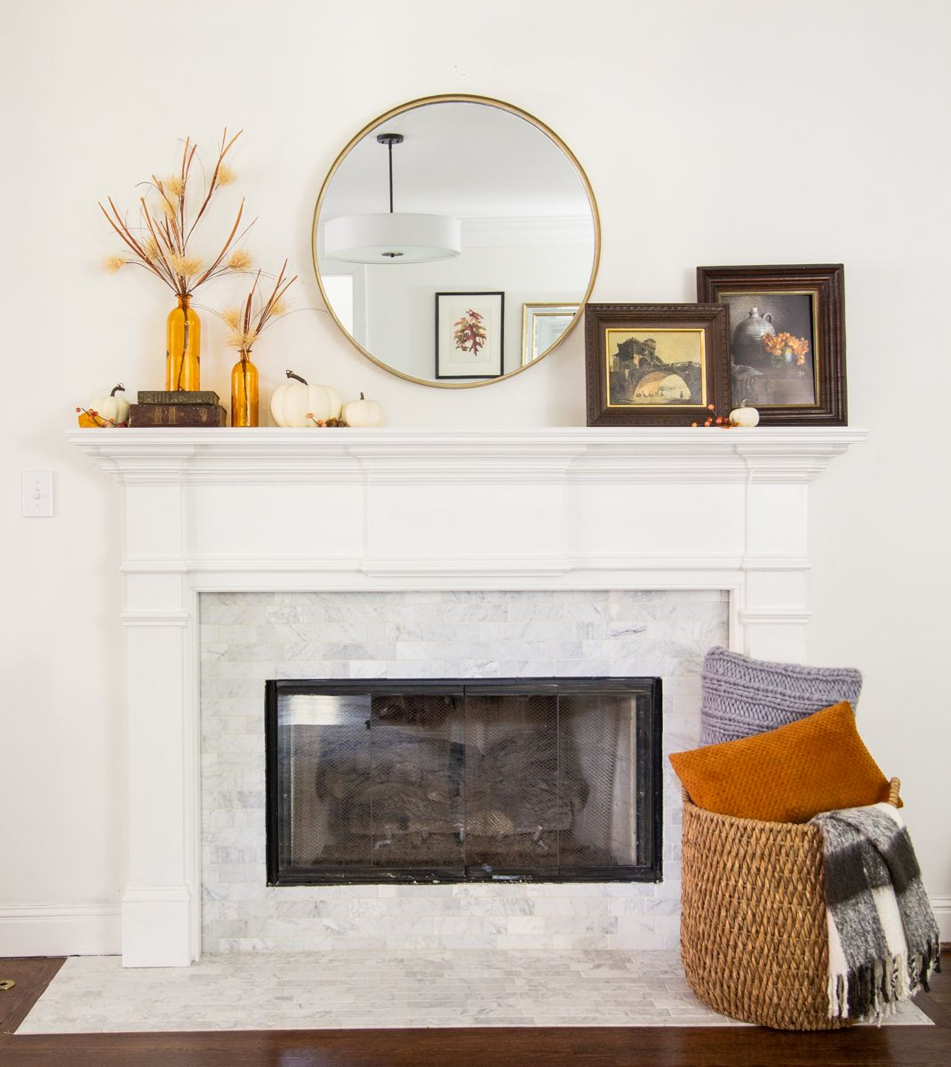 4 Ways To Style A Simple Fall Mantle With A Round Mirror Deeplysouthernhome In 2019 Mirror Over Fireplace Unique Home Decor Mantle