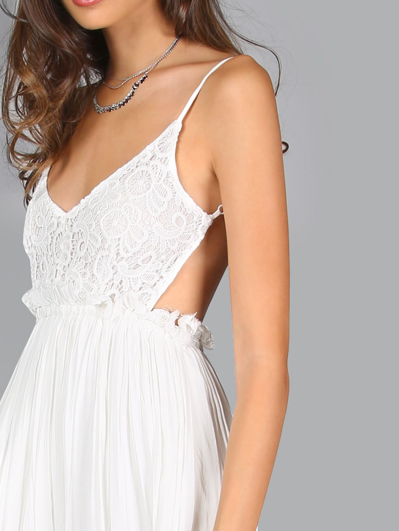 Lace Overlay Backless Pleated Maxi Dress -SheIn(Sheinside)  White