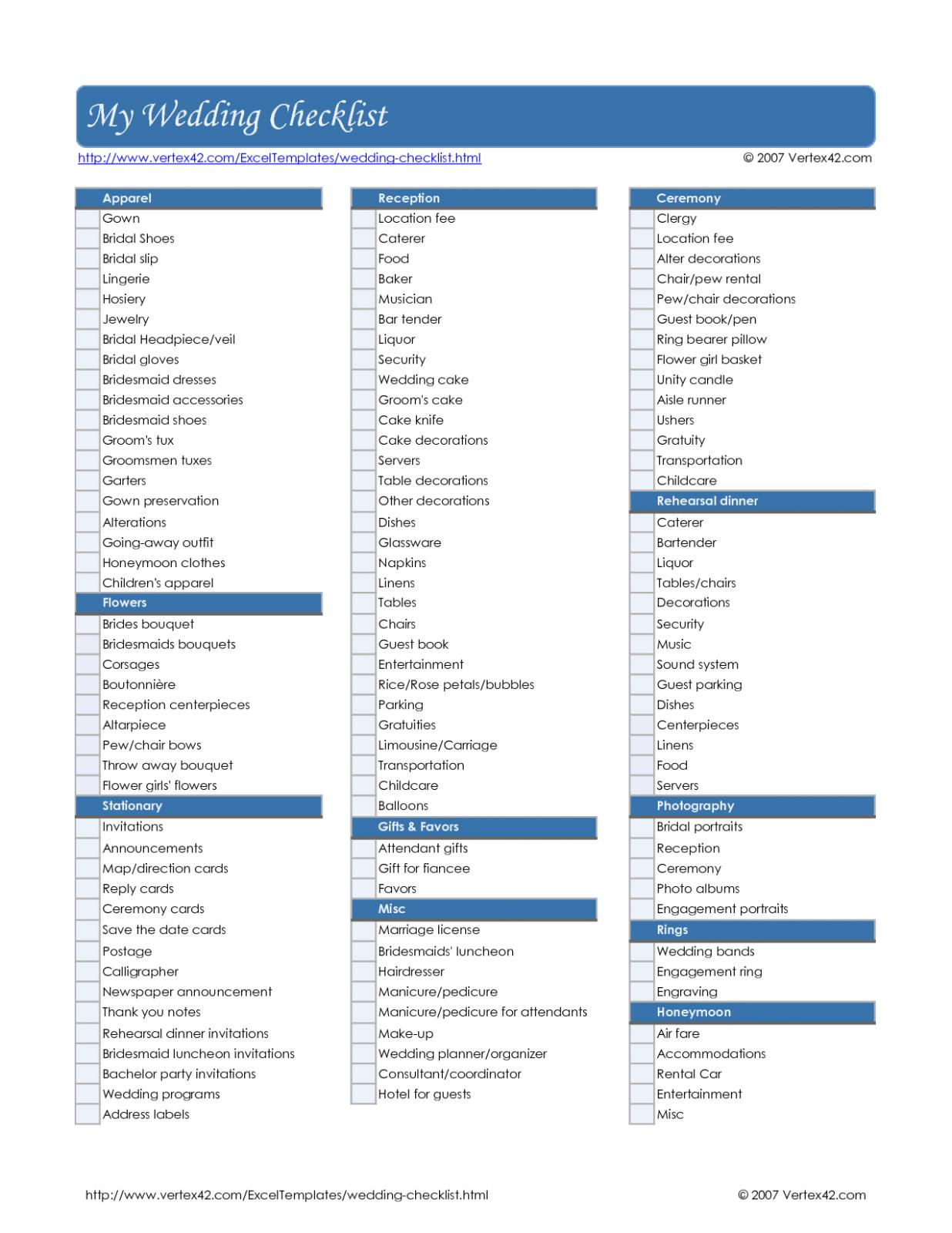 Complete Wedding Checklist Free Printable Complete
