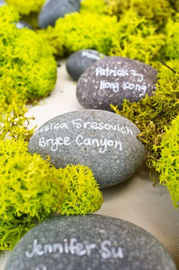 Moss rock placecard - Continuum Wedding Photography -   www.Engagednowwhat.com
