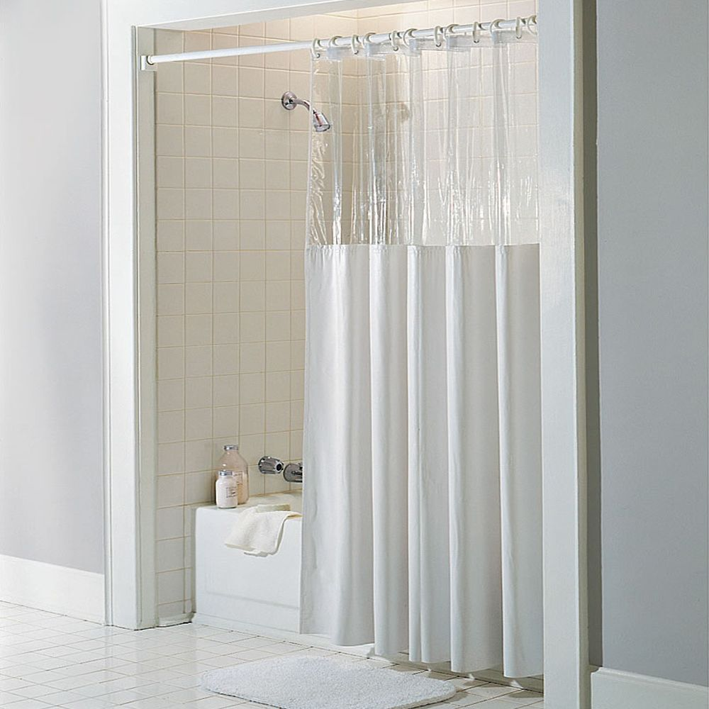 Antibacterial And Antimicrobial Mildew Resistant See Through Top Clear White Vinyl Shower Curtain Vinyl Shower Curtains Hookless Shower Curtain White Shower Curtain