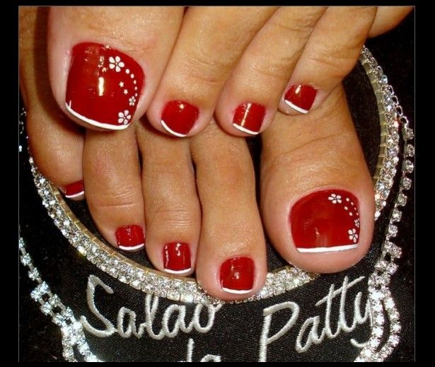 Red Toenail With White Flowers Nail Design - http://easynaildesigns.org/ - Red Toenail With White Flowers Nail Design - Http