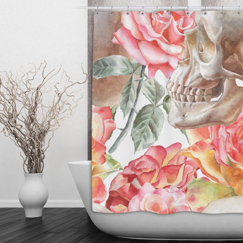 Watercolor Skull Shower Curtain With Pink Roses
