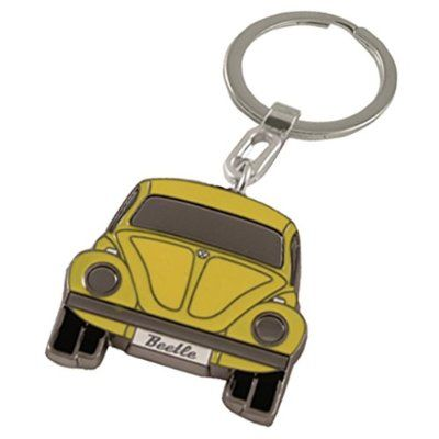 Beetle Image Black Leather Keyring in Gift Box