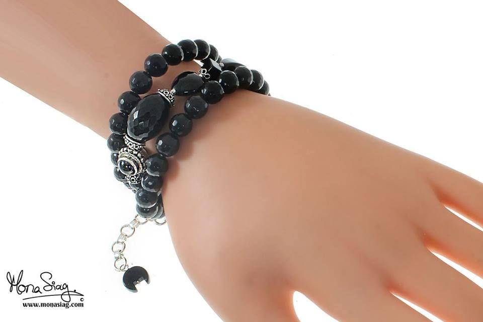 Black Onyx #Sterling #Silver Three Rows #Bracelet : Code : MS05451 with Price : 975 LE. goo.gl/CuLpln