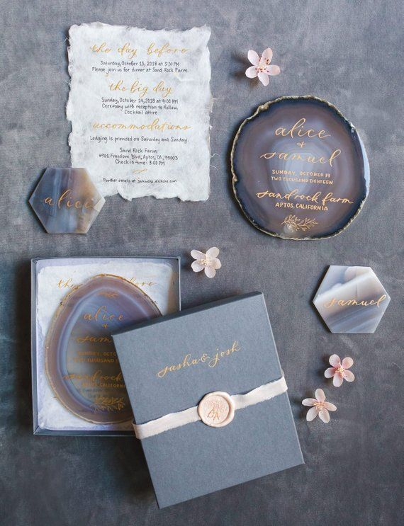 Single Agate Wedding Invitation Boxed Set | Photographer Styling Set | Whimsical Gray and Pink Stone Invite with Box and Wax Seal
