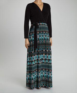 0ef29d33cb57d2 Loving this Black & Teal Ikat Surplice Maxi Dress - Plus on #zulily!  #zulilyfinds