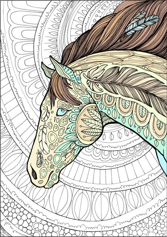 Adult Coloring Page Horse Doodle Printable Colouring Zen ...