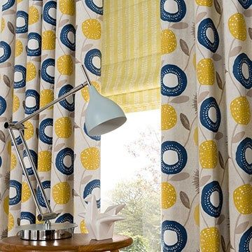 Curtain Style And Colour Themes For The Kitchen Blue And