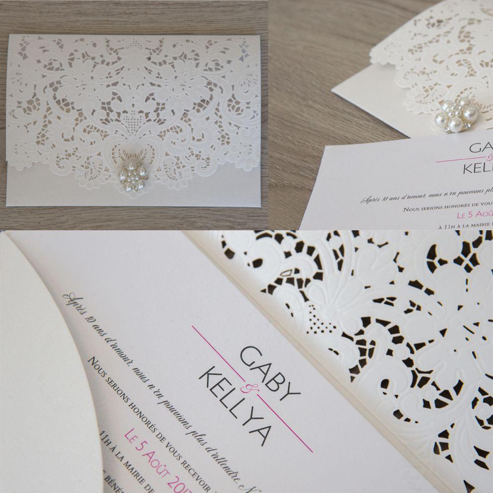 faire part mariage romantique avec une pochette dentelle blanche avec strass et carton chic et. Black Bedroom Furniture Sets. Home Design Ideas