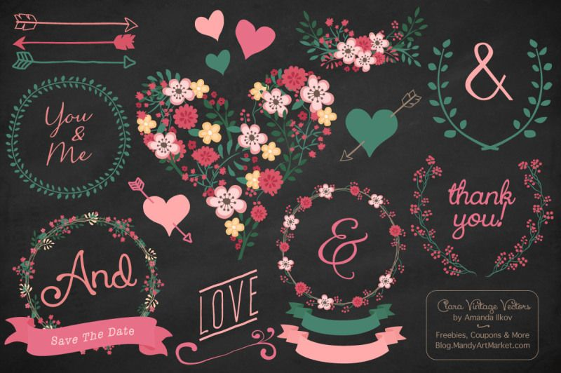 Photo of Rose Garden Vector Flowers Heart & Wreaths By Amanda Ilkov | TheHungryJPEG.com