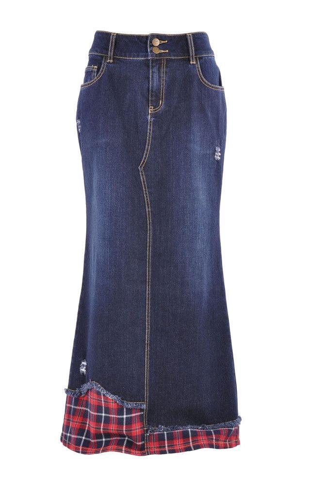 "Skirt details: * floor length 38.5"" * regular straight fit * stretch navy blue denim * five pockets pencil style & back slit 21"" * plaid & distressed design * 98% cotton, 2% spandex * Consider decorat"