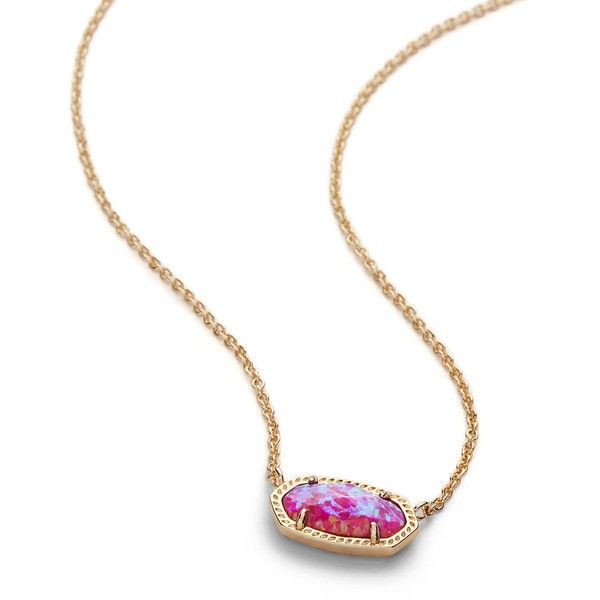 Kendra Scott Elisa Pendant Necklace in Fuchsia Kyocera Opal ($85) ❤ liked on Polyvore featuring jewelry, necklaces, lobster clasp necklace, kendra scott necklace, kendra scott jewelry, chain necklace and 14k chain necklace