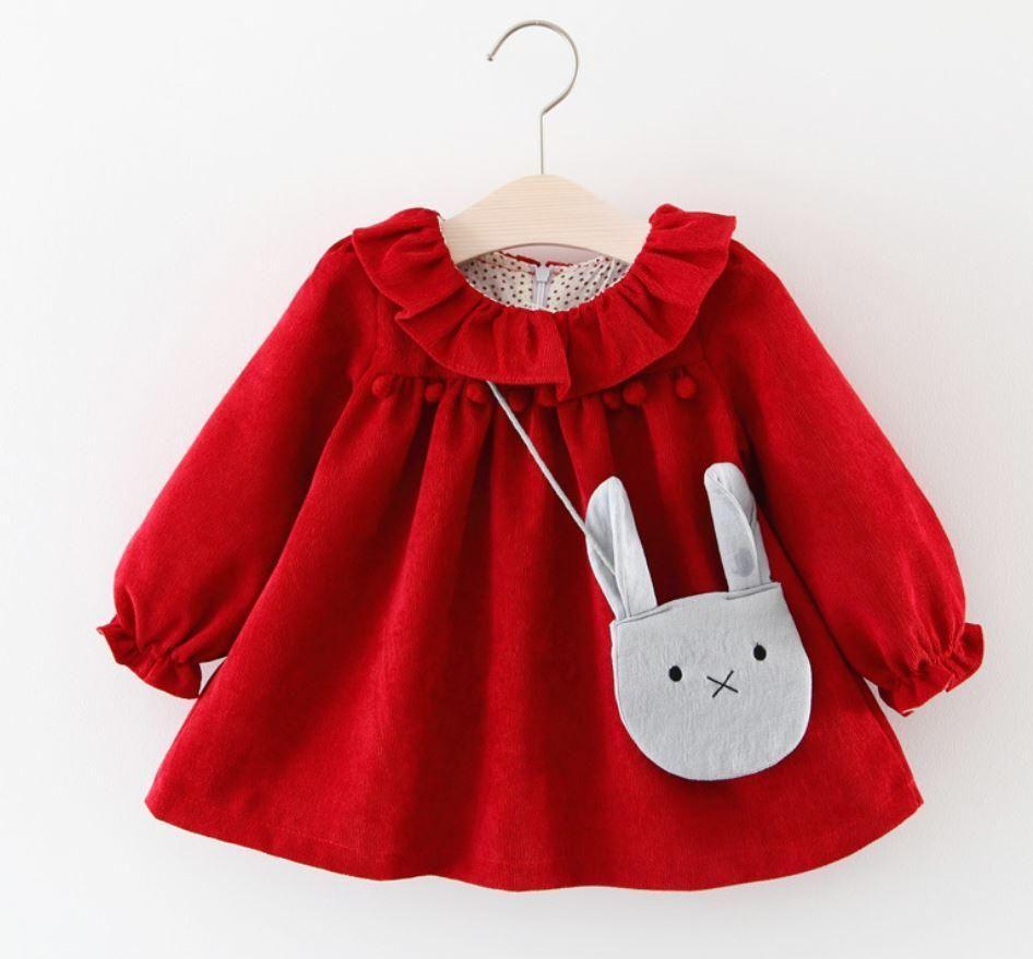 Phoebe Red Ruffle Neck Cord Holiday Dress  Girls long sleeve