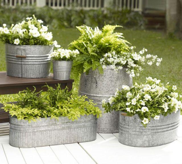 Galvanized Metal Tubs Buckets Pails As Planters Porch Plants