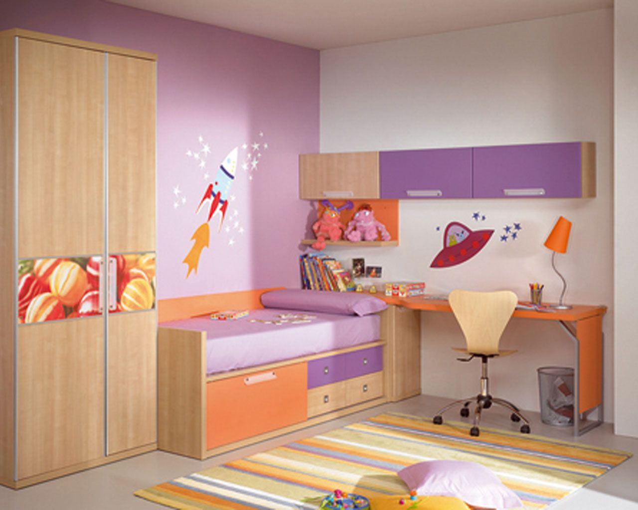 purple and white themed modern kids room design with corner space brown wood bed frame that