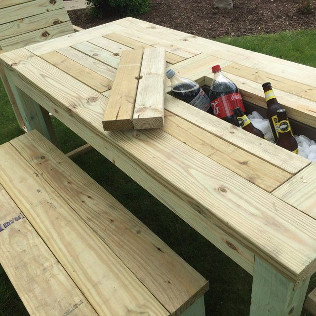 Drink cooler picnic table constructed from pressure Picnic table with cooler plans
