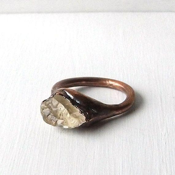 Edelstein Ring roh Crystal Ring grobe Steine Skapolith Stroh blass ...