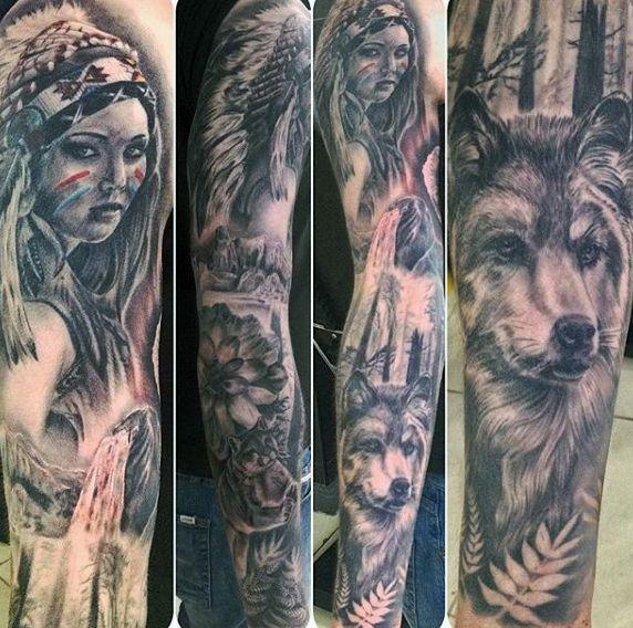 gorgeous-native-american-girl-and-wolf-tattoo-male-full-sleeves.jpg (572×568)