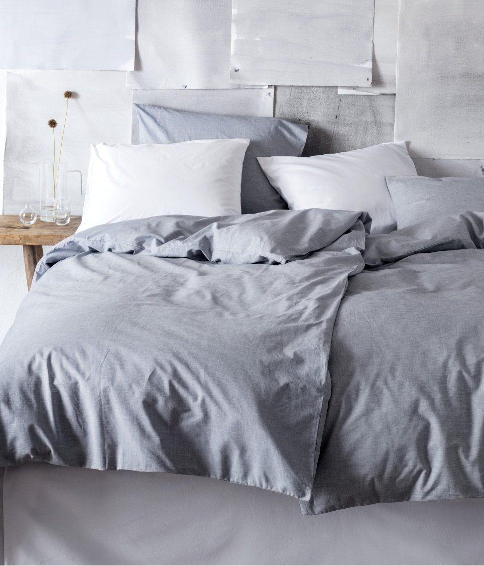Amazon.com - Solid Gray Cotton Duvet Cover and Pillowcase 2pc Set Twin Single Size 100% Cotton Grey Chambray 200TC -