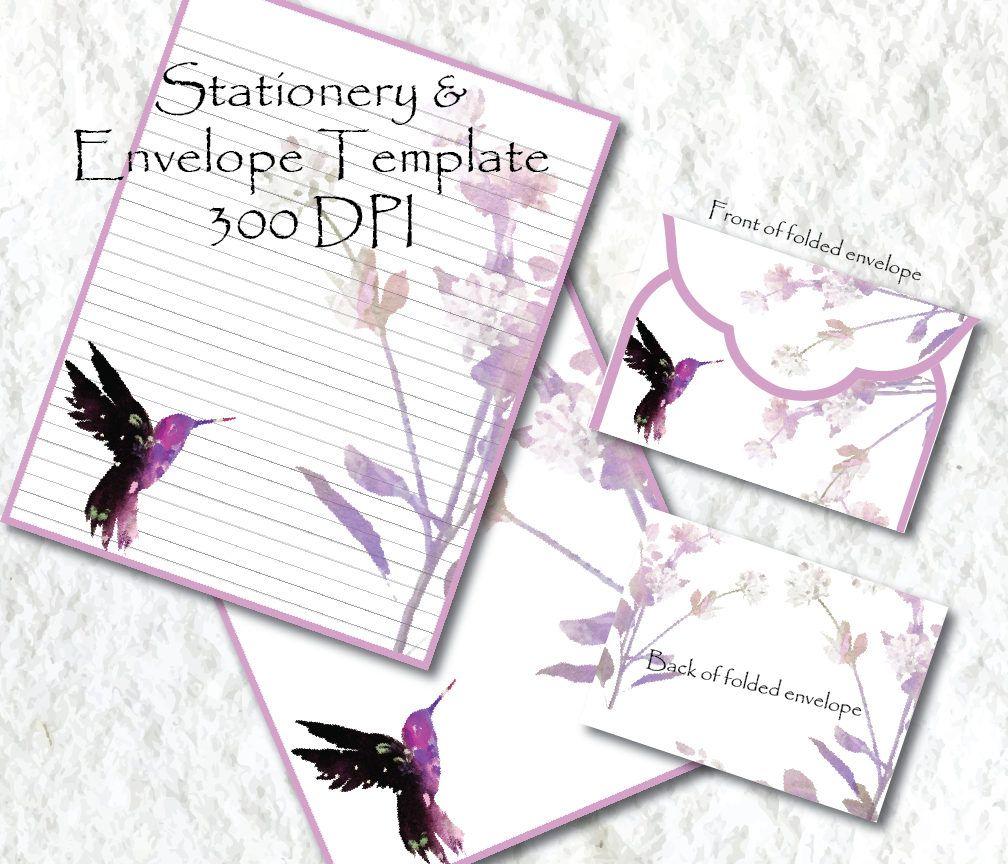 Hummingbird Digital Paper Purple Lavender Stationery Paper Printable