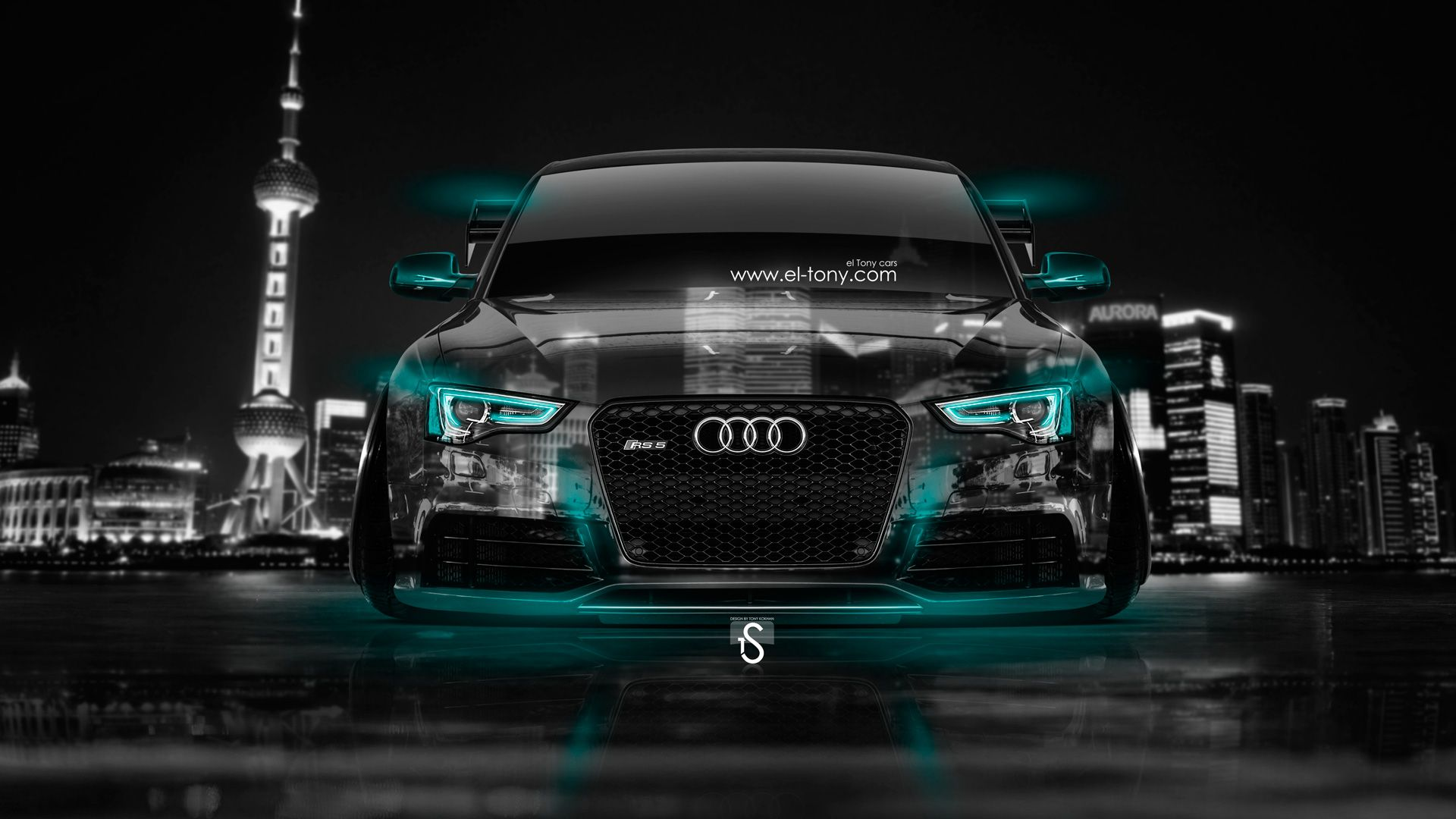 Audi Rs5 2014 | Audi RS5 Tuning Front Crystal City Car 2014 Azure Neon HD Wallpapers  .
