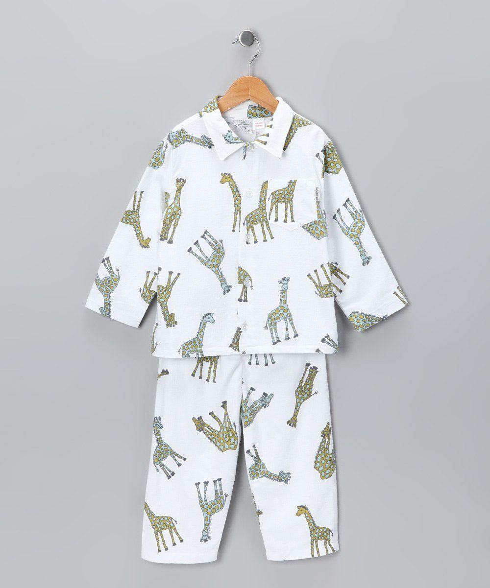 342d551fe White Giraffe Flannel Pajama Set - Infant