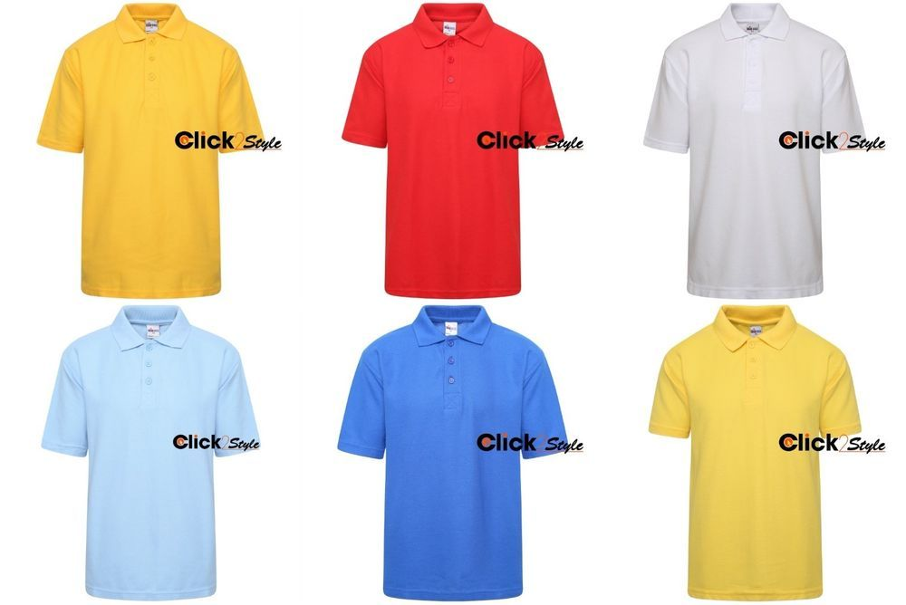 Men Boys Girls Kids Adult Uniform Polo T-Shirt P.E Plain School Ware Size 3-XL