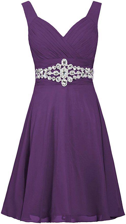 825a4c77c47 Amazon.com  ANTS Women s Straps Short Prom Dresses Crystal Chiffon Cocktail  Dress Size 18W US Light Purple  Clothing