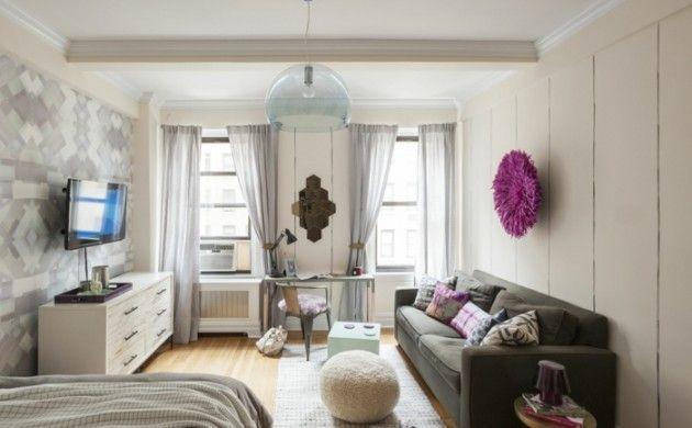 kleine wohnung einrichten einzimmerwohnung retro polstermobel sofa ...