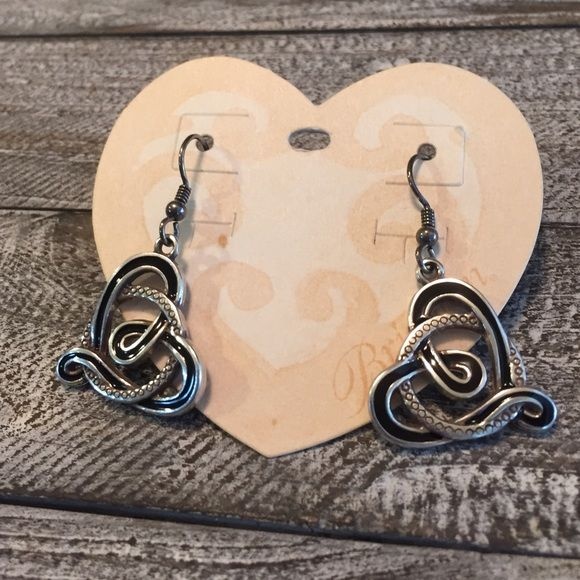 Lovely Brighton Heart Earrings Lovely Brighton Heart Earrings in good condition. These earrings are really cute with the silver & black details. Don't pass these up. Thanks for looking.❤️⛄️ Brighton Jewelry Earrings
