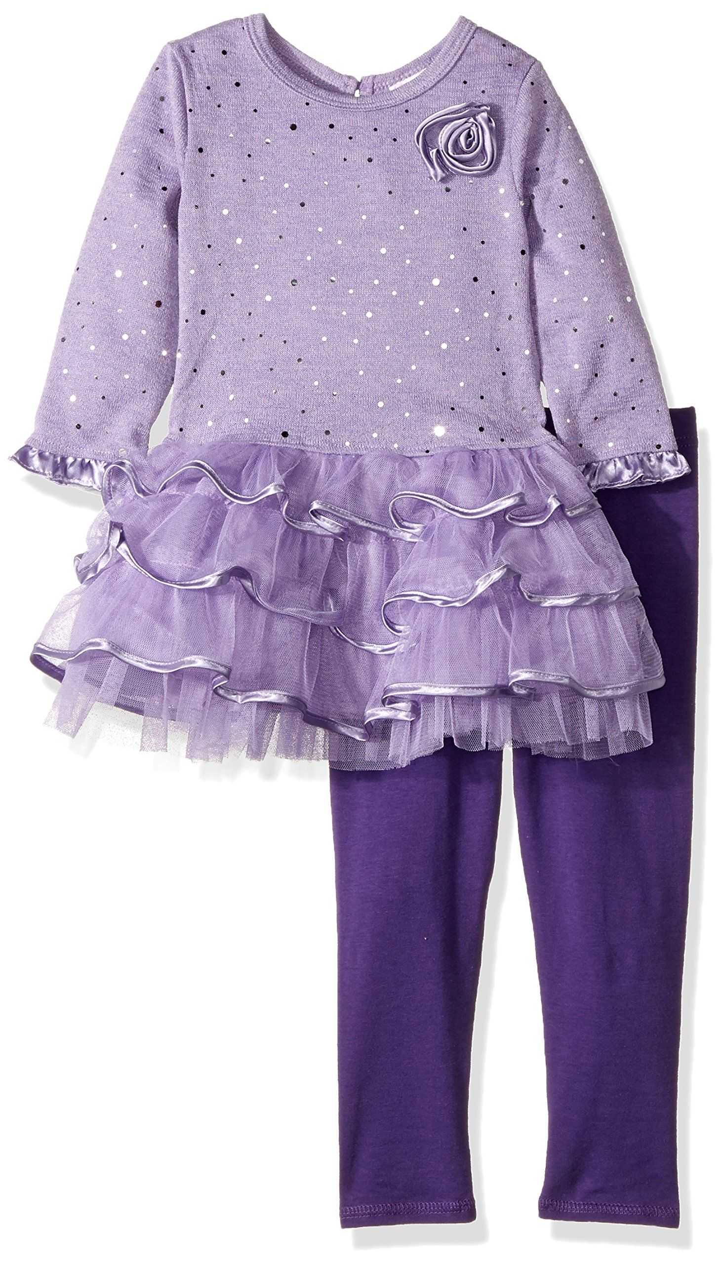 aa48803bb Youngland Little Girls' Sparkle Brushed Sweater Knit and Mesh Tiered Dress,  Purple, 6X