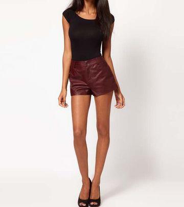 33.99] Leather Shorts High waist Leather Pants Flares Lattice ...
