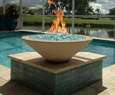 Fire Bowl By Pool Round Gas Fire Bowl With Blue Glass Fire Bowl
