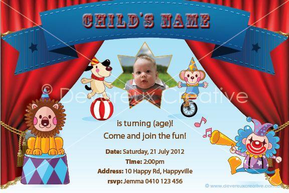 Print your own invitation. Boy Birthday Invite - circus design